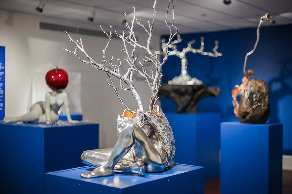 Photo of artist Michael Galmer's 'Body from Egg' silver sculpture at Biggs Museum.
