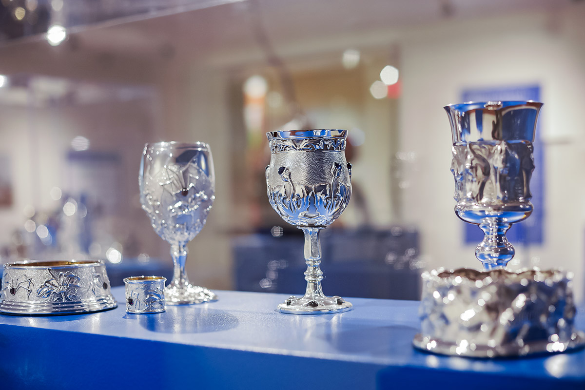 Photo of artist Michael Galmer's sterling silver goblets at Biggs Museum.