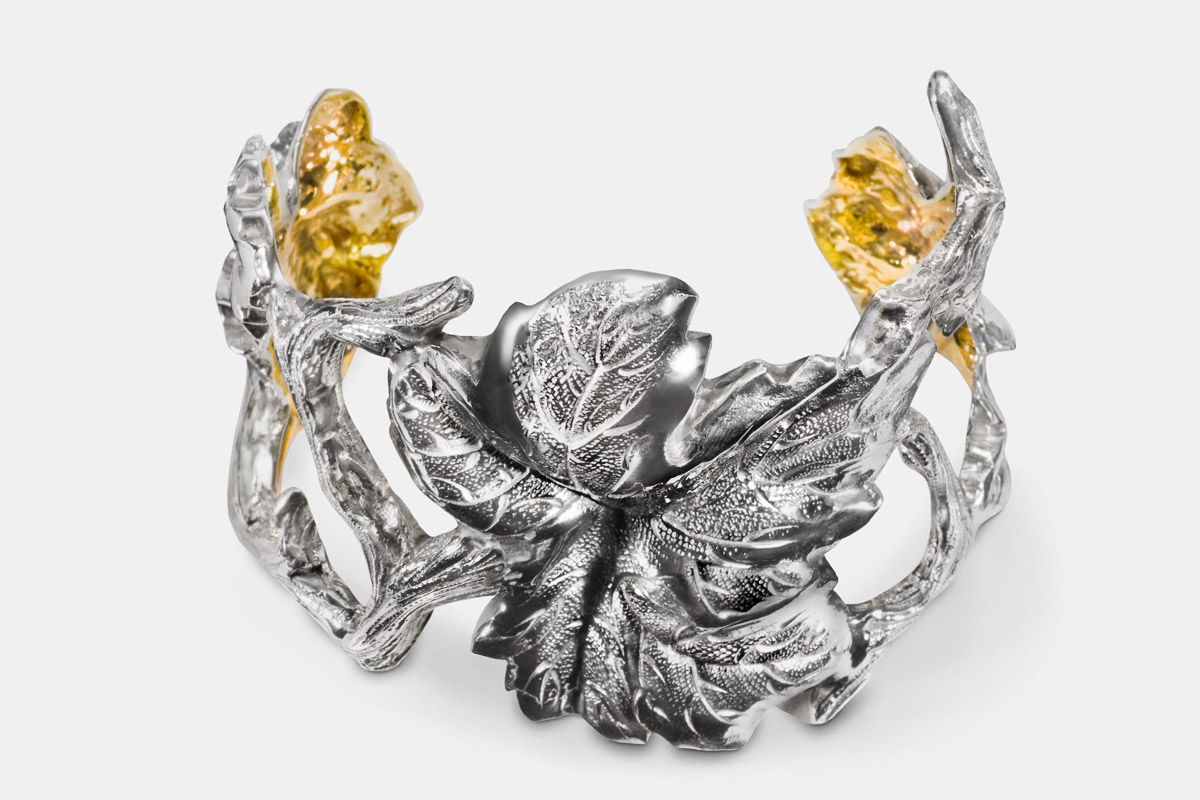 Michael Galmer's sterling silver and 24K gold 'Vine Cuff'.