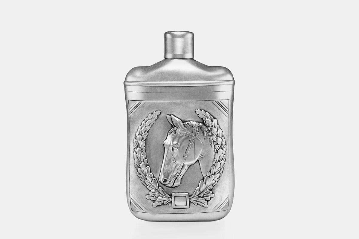 Michael Galmer's sterling silver 'Horses Flask'.