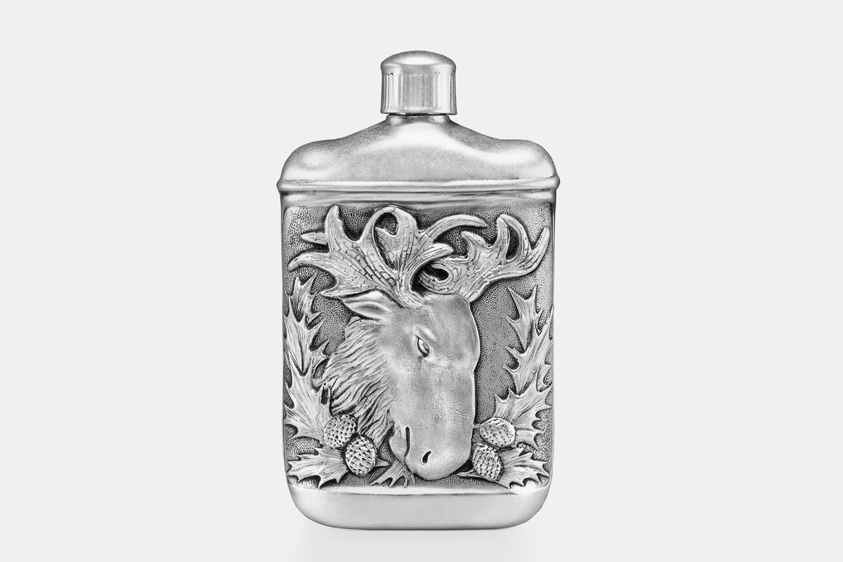 Michael Galmer's sterling silver 'Moose Flask'.