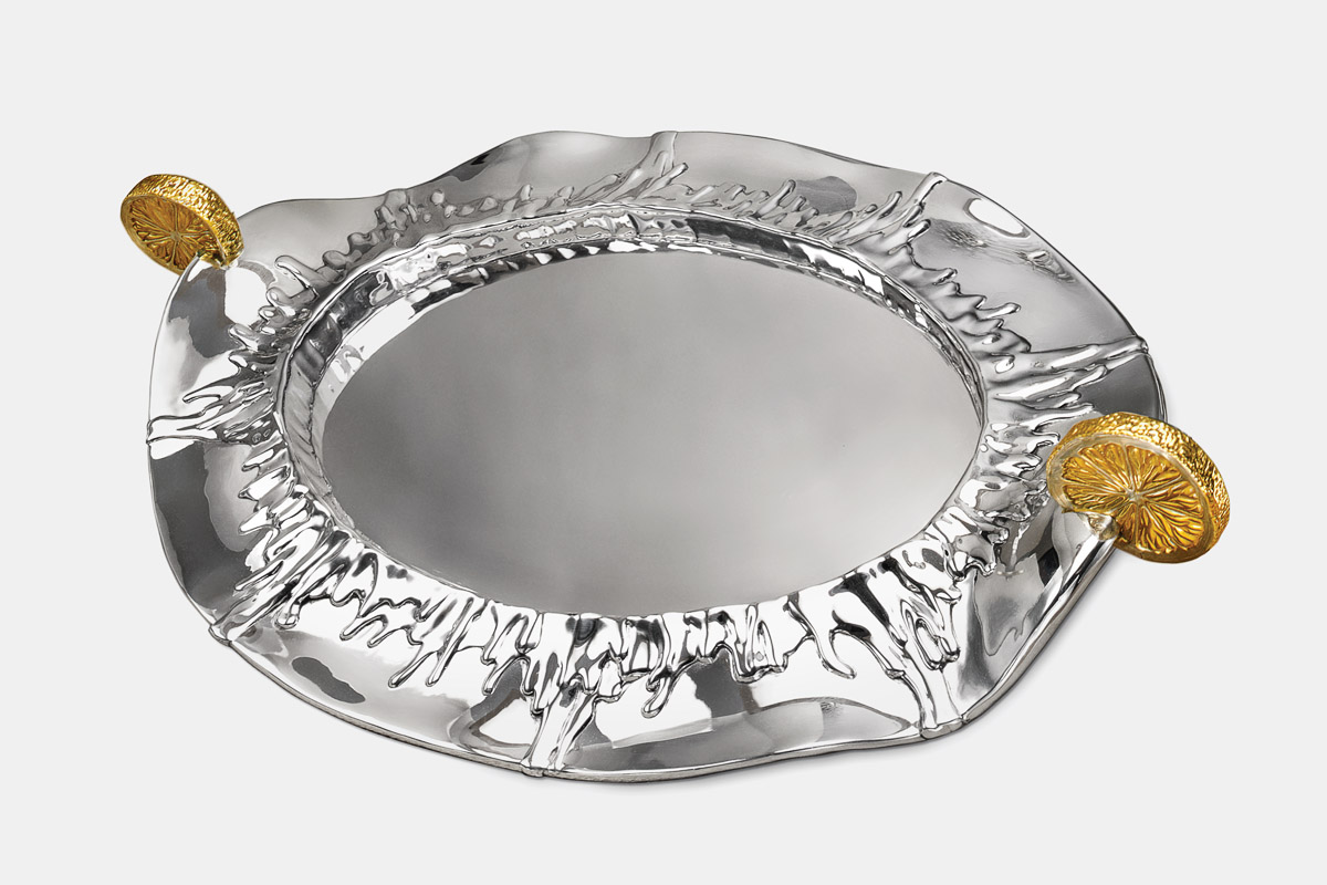 Michael Galmer's sterling silver and 24K gold plated 'Lemon Tray'.