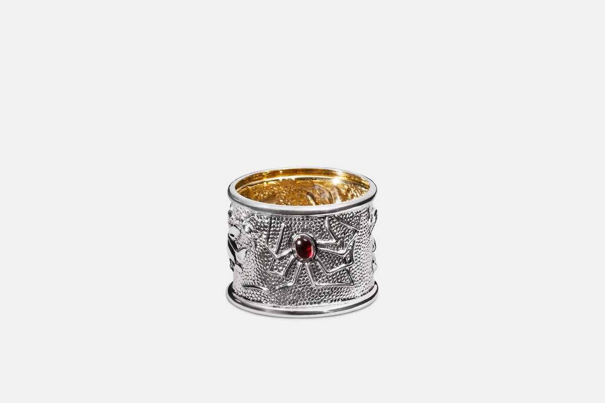 Michael Galmer's sterling silver and 24K gold 'Spider Napkin Ring'.