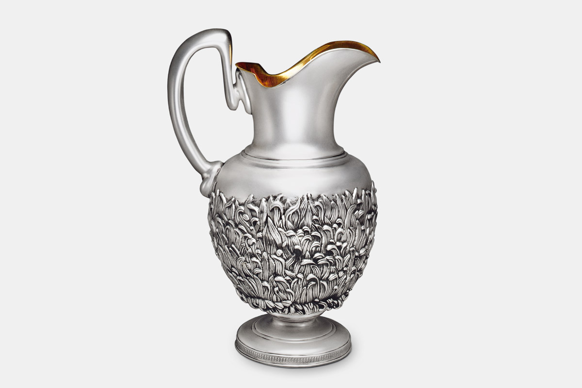 Michael Galmer's sterling silver and 24K gold 'Chrysanthemum Pitcher'.