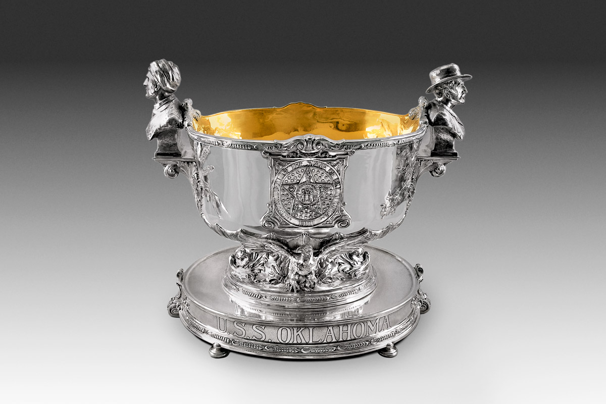 Photo of Michael Galmer's sterling silver 'Oklahoma Punch Bowl' on permanent display at the Oklahoma Governor's Mansion.