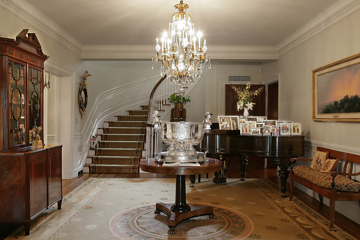 Photo of Michael Galmer's sterling silver replica of The USS Oklahoma punch bowl in the Governor's Mansion.