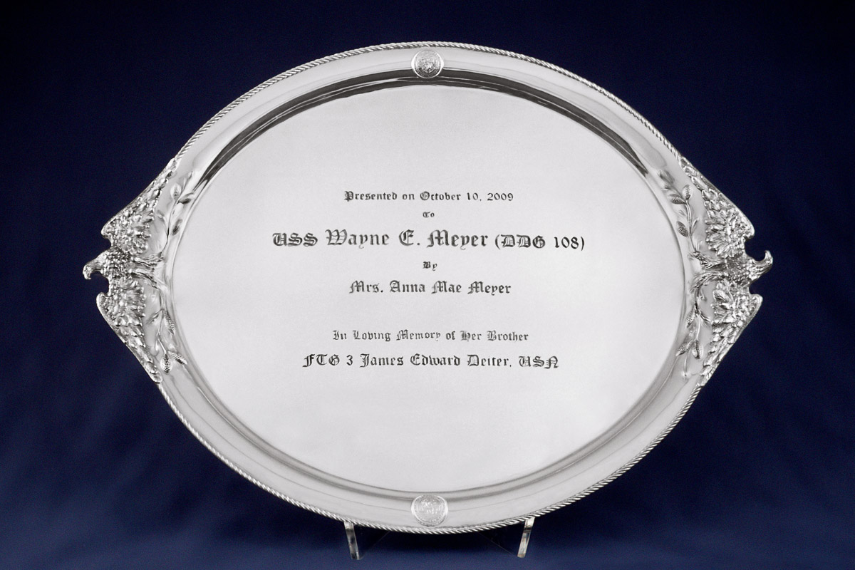 Photo of Michael Galmer's USS Wayne E. Meyer sterling silver commemorative serving tray.